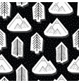 trees and mountains black and white seamless vector image vector image