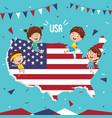 usa flag and kids vector image