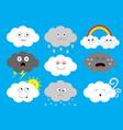 white dark cloud emoji icon set fluffy clouds sun vector image vector image
