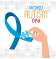 world autism day with hand and ribbon vector image vector image