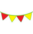 yellow and red garland pennant decoration festive vector image vector image