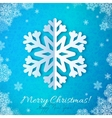 Blue paper snowflake on red ornate background vector image