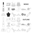 atelier and sewing monochrom icons in set vector image
