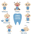 Baby teething symptoms vector image vector image