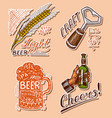 bottle beer in hand with inscription cheers vector image vector image