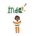 boy kid teenager holding indian flag in hands vector image vector image