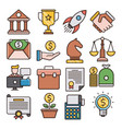business filled outline icons vector image