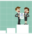 businessman and businesswoman have a plan job is vector image