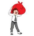 businessman carrying huge sack on shoulders vector image vector image