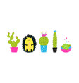 cactus in pots and hedgehog hand drawn set vector image vector image