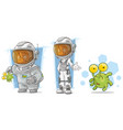 cartoon spaceman with alien character set vector image