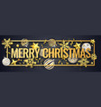 christmas horizontal banner with shining vector image vector image