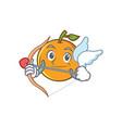 cupid orange fruit cartoon character vector image vector image