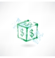 Dollar cube grunge icon vector image