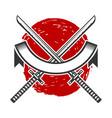emblem with crossed katana swords design element vector image vector image