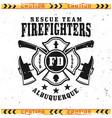 firefighters emblem badge label or logo vector image vector image