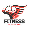 fitness emblem with bodybuilder hand vector image vector image