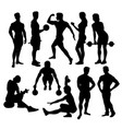 fitness sport activity silhouettes vector image vector image