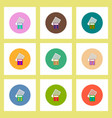 flat icons set of calculator and blank concept on vector image vector image