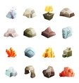 Game art environment low poly rock stone boulder vector image