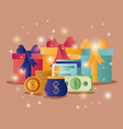gift boxes with commercial icons vector image
