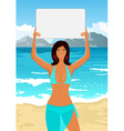girl in bikini with sign vector image