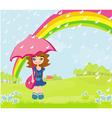 girl walking in the rain vector image