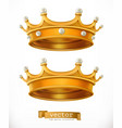 gold crown king 3d realistic icon vector image vector image