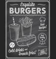 grunge chalkboard fast food menu template 2 vector image vector image