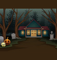halloween background with scary house in the night vector image