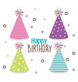 happy birthday card with hat party vector image vector image