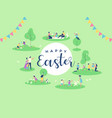 happy easter card family people in spring park vector image vector image
