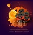 happy halloween pumpkins poster design with moon vector image