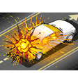 Isometric White Car in Explosion in Rear view vector image vector image