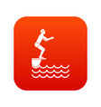 man standing on springboard icon digital red vector image vector image