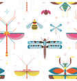 meadow insects geometric pattern vector image vector image