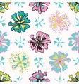 memphis style polka dot flower seamless vector image