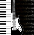 music background with keyboard guitar and stave vector image vector image