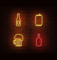 neon alcohol drinks signs isolated on brick vector image vector image