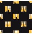 Orange night town windows seamless pattern vector image