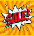 orange sale web banner pop art comic sale vector image