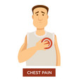 person having chest pain and holding his heart vector image vector image