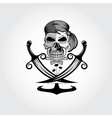 pirate skull with swordsanchor and palms vector image