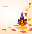 pumpkin and autumn background vector image