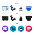 rubber gloves ink and other equipment tattoo set vector image vector image