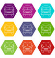 school bus icons set 9 vector image