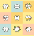 set of dental care element for tooth concept 08 vector image