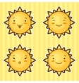Set of kawaii suns with different facial vector image vector image