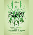 techno party flyer with green element vector image