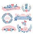 Valentines day floral elements set vector image